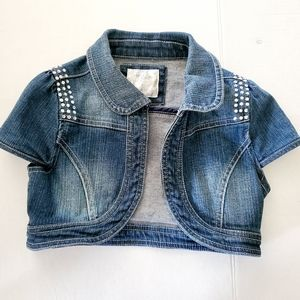 Justice Mini Crop Jean Vest, Size 8 (girl)